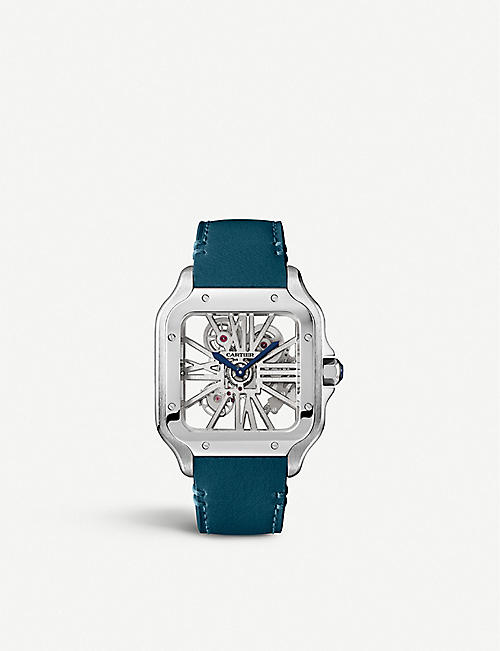 CARTIER: WHSA0009 Santos de Cartier Skeleton leather and stainless steel watch