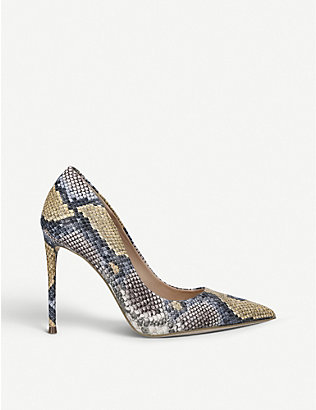 STEVE MADDEN: Vala snakeskin-embossed faux-leather courts
