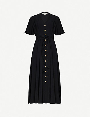 WHISTLES: Anita frill-sleeve woven midi dress