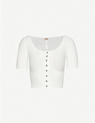 FREE PEOPLE: Little Cutie cropped cotton-blend knitted top