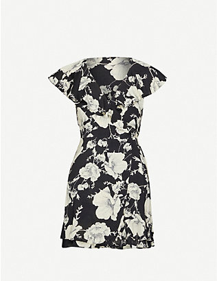 FREE PEOPLE: French Quarter floral-print woven mini wrap dress