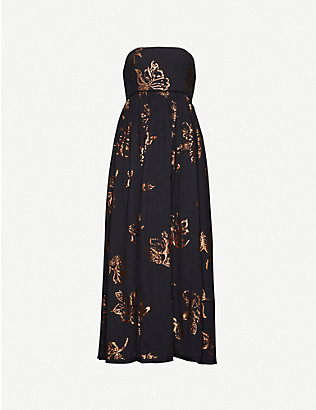 FREE PEOPLE: Baja Babe metallic floral-pattern cotton midi dress