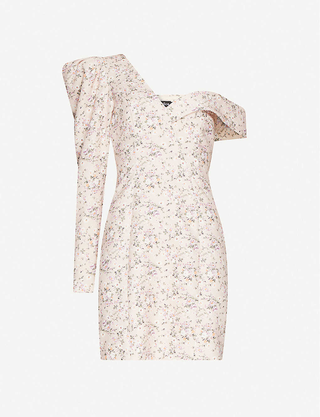 LAVISH ALICE: Floral-print ruched woven mini dress