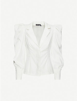 LAVISH ALICE: Puffed-sleeve crepe shirt