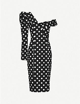 LAVISH ALICE: One-sleeve polka-dot crepe midi dress
