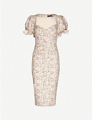 LAVISH ALICE: Floral-print woven midi dress