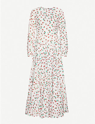 RIXO: Pip floral-print cotton maxi dress