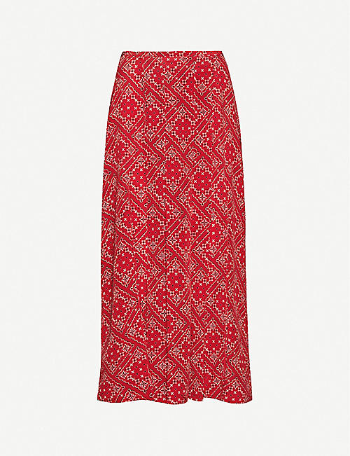 RIXO: Georgia graphic-print high-waist silk skirt