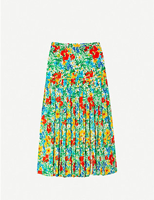 RIXO: Tina floral-pattern cotton midi skirt