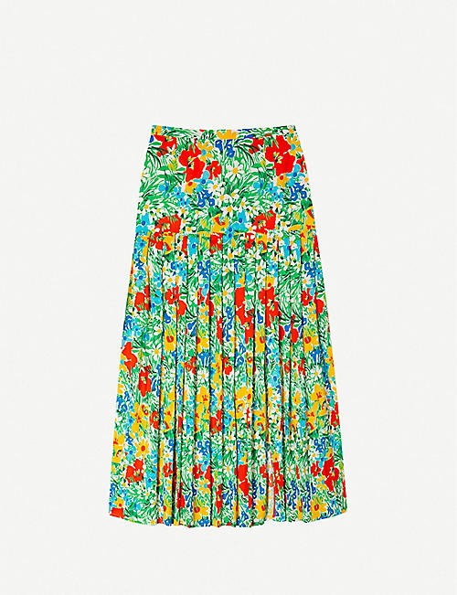 RIXO Tina floral-pattern cotton midi skirt