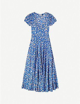 RIXO: Tamara floral-print cotton-blend midi dress