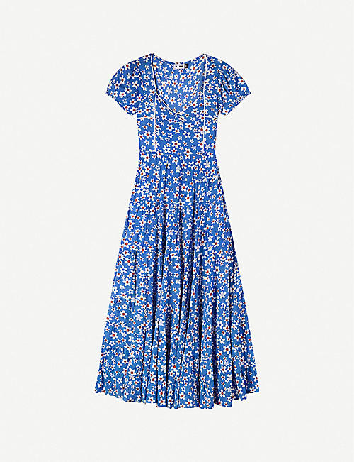 RIXO Tamara floral-print cotton-blend midi dress
