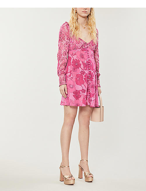 RIXO Fara floral-print silk-blend mini dress