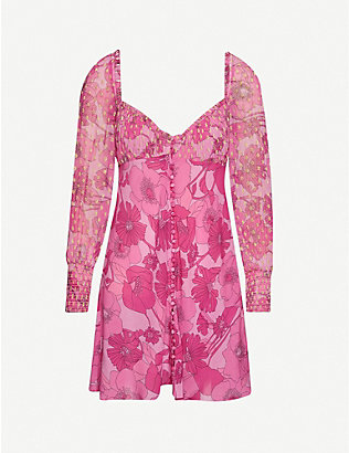 RIXO: Fara floral-print silk-blend mini dress