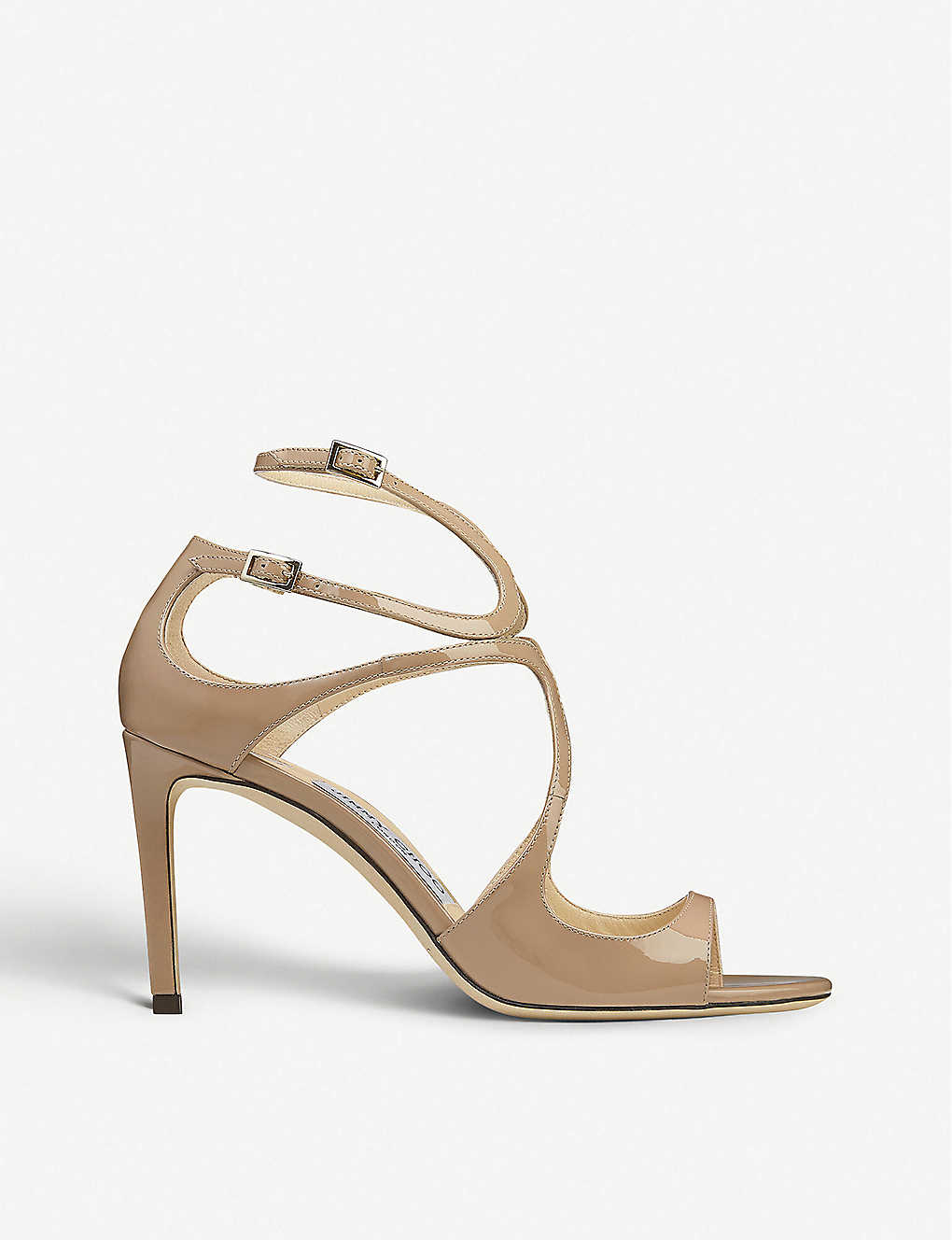 JIMMY CHOO: Ivette 85 patent-leather heeled sandals