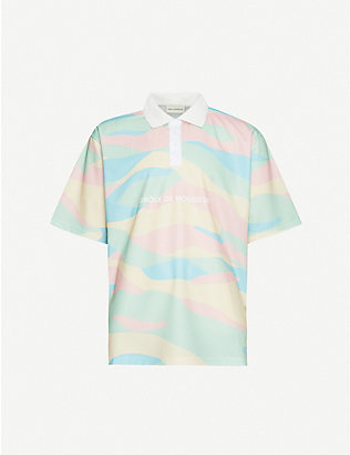 DROLE DE MONSIEUR: Graphic-print stretch-jersey polo shirt