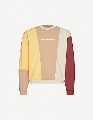 DROLE DE MONSIEUR: Relaxed-fit colour-blocked stretch-cotton sweatshirt