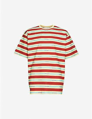 DROLE DE MONSIEUR: Striped brand-print relaxed-fit cotton-jersey T-shirt
