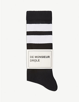 DROLE DE MONSIEUR: Cotton striped-cuff socks