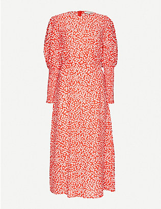 NEVER FULLY DRESSED: Delores floral-print cotton-blend midi dress