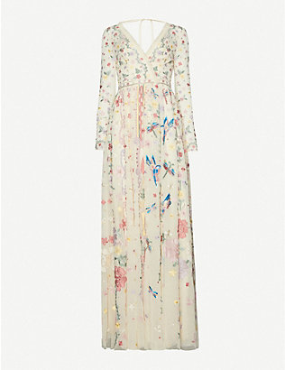 NEEDLE AND THREAD: Needle & Thread x Jasmine Hemsley Elements embroidered recycled-tulle gown