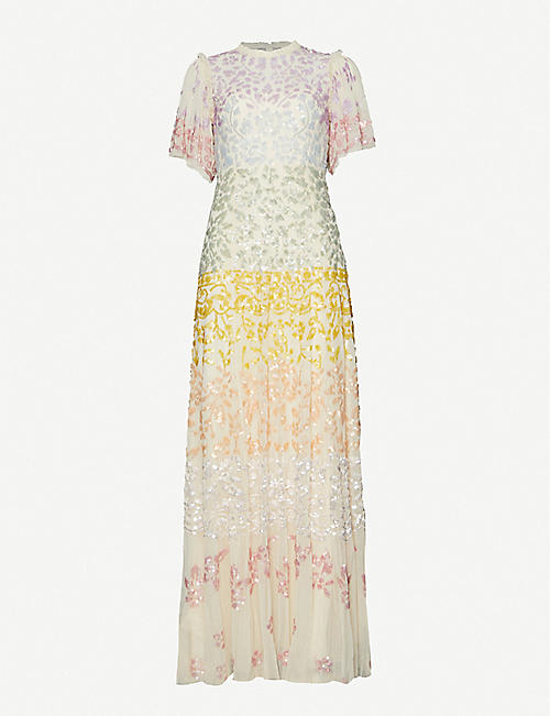 NEEDLE AND THREAD: Needle & Thread x Jasmine Hemsley Chakra sequin-embellished recycled-tulle gown