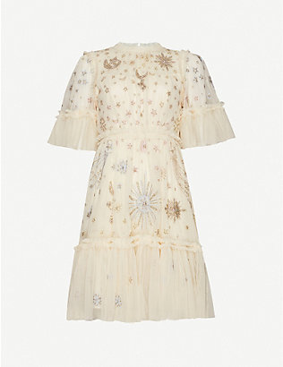 NEEDLE AND THREAD: Needle & Thread x Jasmine Hemsley Ether crystal-embellished recycled-tulle mini dress
