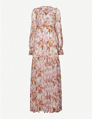 NEEDLE AND THREAD: Needle & Thread x Jasmine Hemsley Harmony floral-print recycled tulle gown