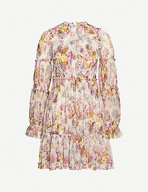 NEEDLE AND THREAD: Needle & Thread x Jasmine Hemsley Harmony floral-print recycled tulle mini dress