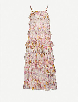 NEEDLE AND THREAD: Needle & Thread x Jasmine Hemsley Harmony floral-print recycled tulle midi dress