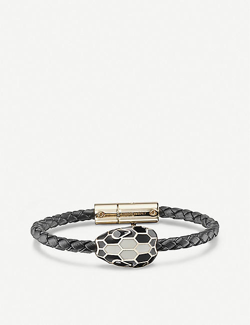 BVLGARI: Serpenti Forever braided leather and amethyst bracelet