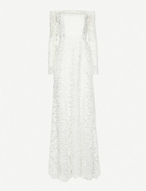 WHISTLES: Melba bardot lace wedding gown
