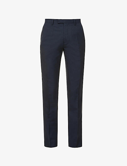 TED BAKER: Checked wool-blend suit trousers