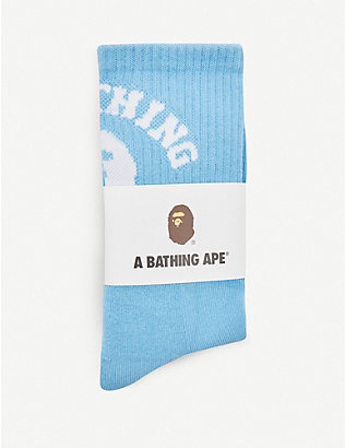 NONE: College logo-print cotton-blend socks