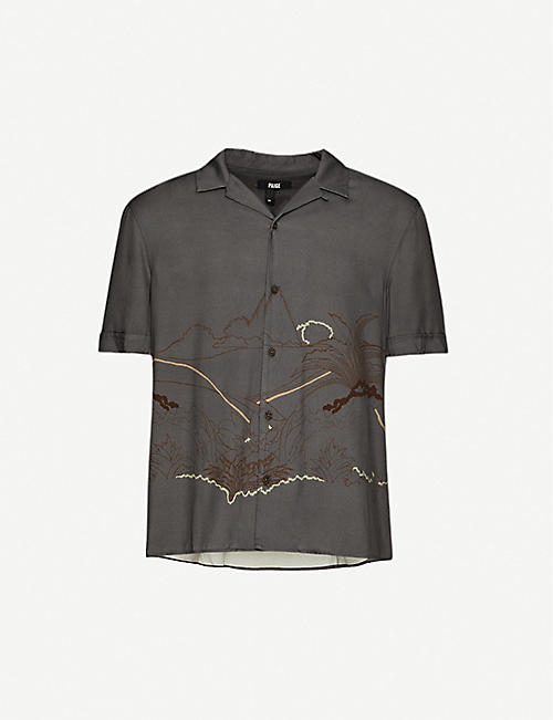 PAIGE: Landon graphic-print woven shirt