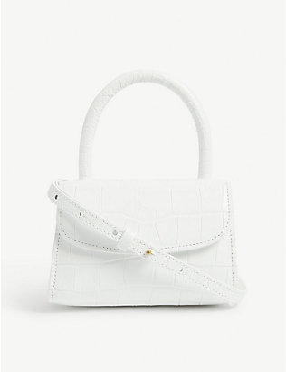 BY FAR: Mini croc-embossed leather cross-body bag