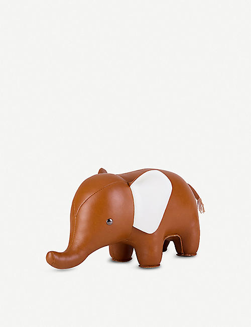 ZUNY: Elephant leather bookend 30cm