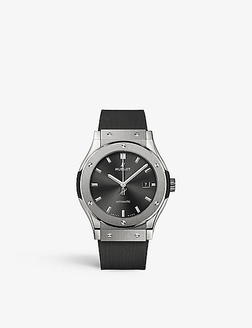 HUBLOT: 542.NX.1171.LR Classic Fusion titanium and rubber automatic watch
