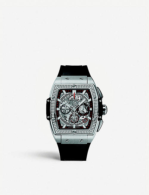HUBLOT: 641.NX.0173.RX.1104 Big Bang chronograph stainless-steel and diamond watch