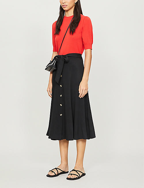 WHISTLES Marissa button-down high-waist crepe midi skirt