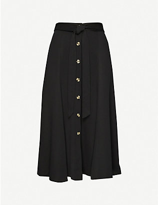 WHISTLES: Marissa button-down high-waist crepe midi skirt
