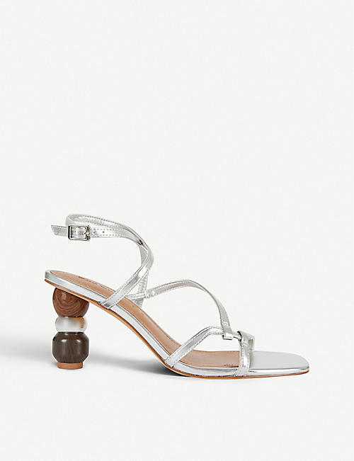 WHO WHAT WEAR: Ryleigh metallic faux-leather sandals
