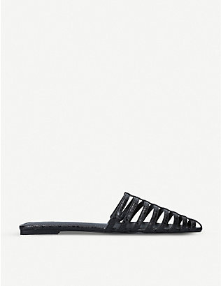 WHO WHAT WEAR: Cecile snake-effect faux-leather mules
