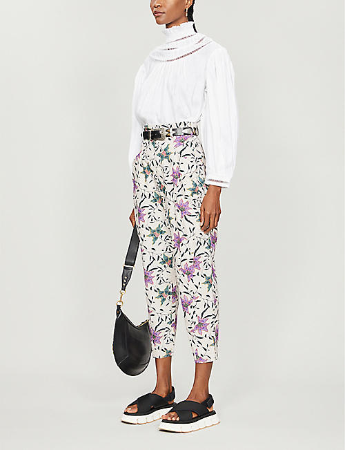 ISABEL MARANT Gubaia floral-print cropped tapered cotton trousers