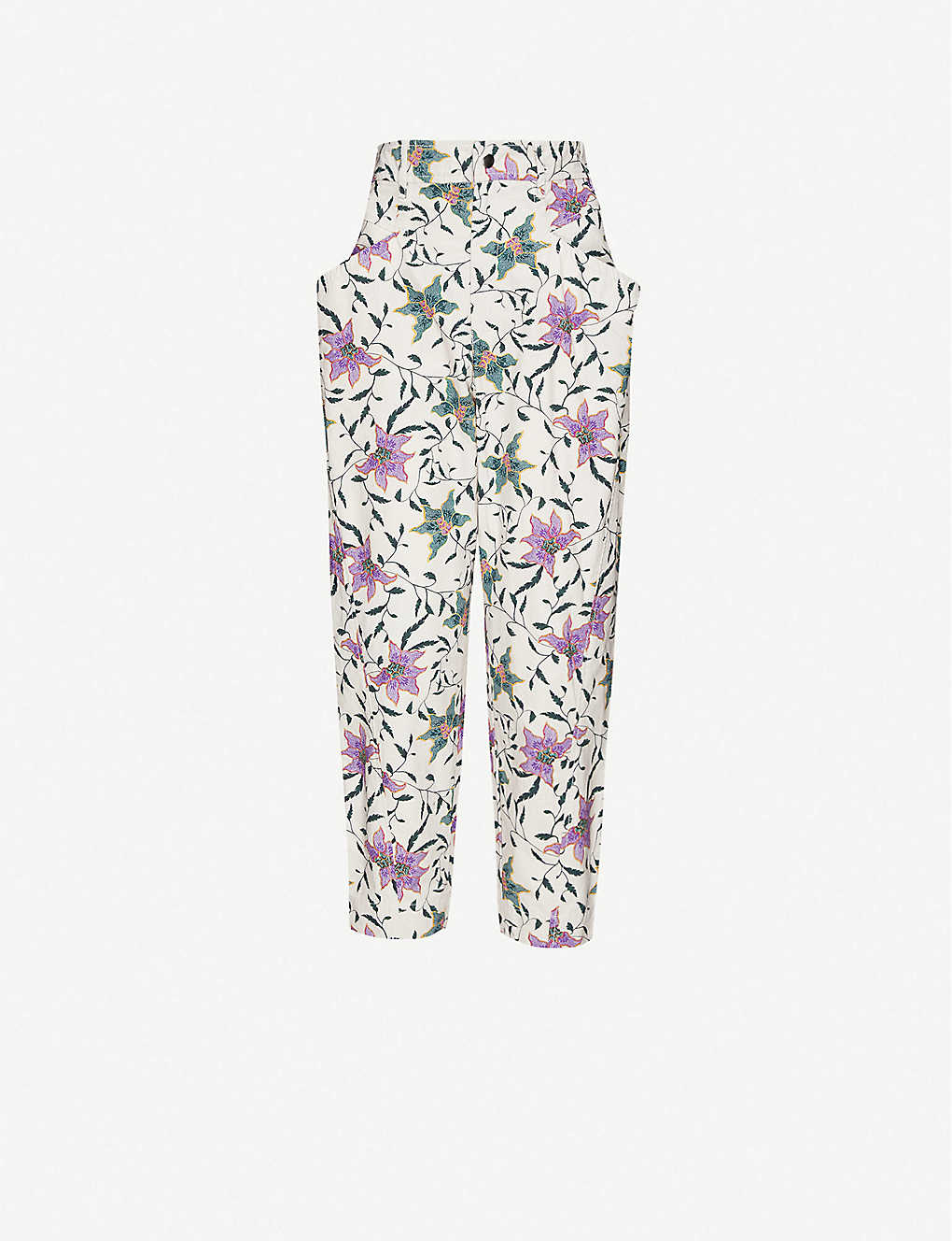 ISABEL MARANT: Gubaia floral-print cropped tapered cotton trousers