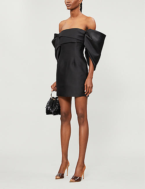 SOLACE LONDON Elina off-the-shoulder ruffled satin-crepe mini dress
