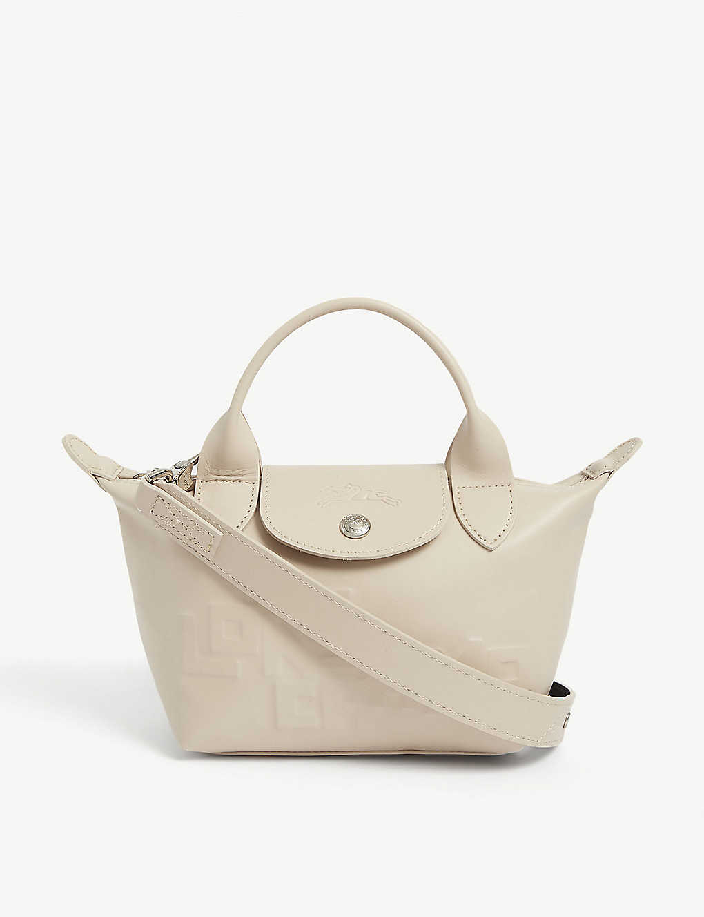 Le Pliage Cuir mini embossed leather top handle bag - CHALK
