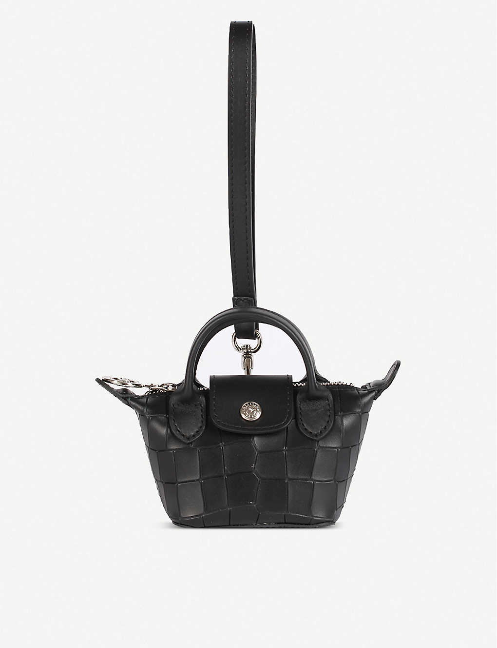 Le Pliage Cuir mini croc-embossed leather top-handle bag