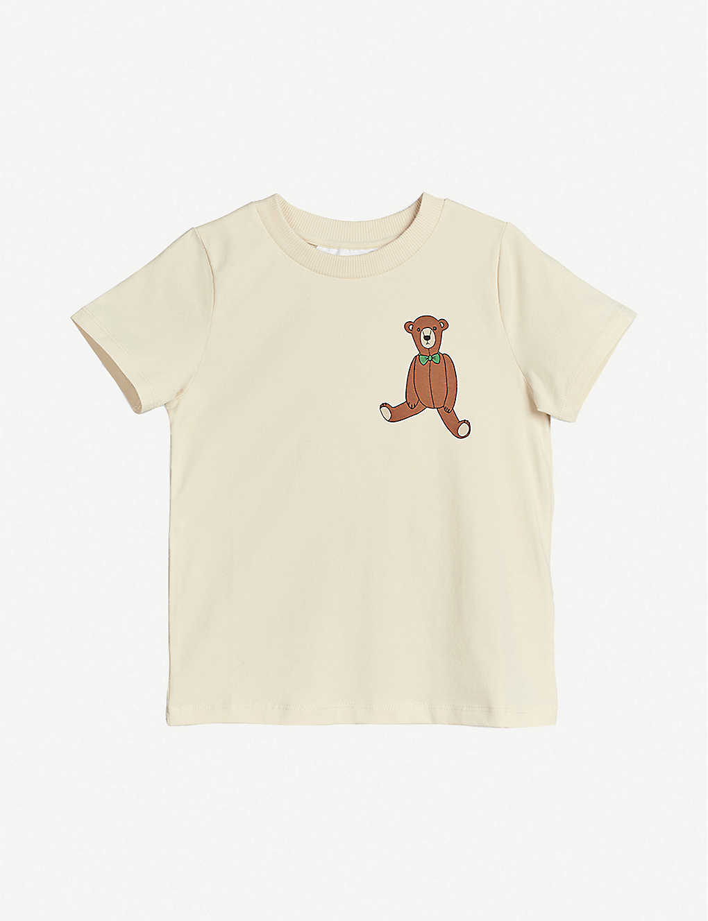 MINI RODINI: Teddy Bear patch-embroidered organic cotton T-shirt 4-11 years