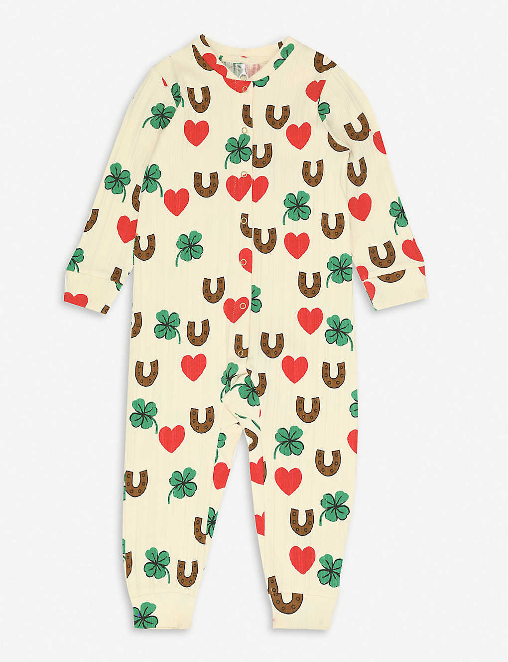 MINI RODINI: Clover-print long-sleeved stretch-organic cotton babygrow 4-18 months